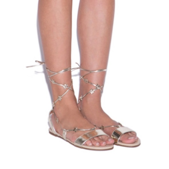 e2f385a42df Gold star lace up flat sandals BRAND NEW